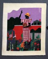 Romare Bearden Girl in the Garden Hand Woven Tapestry ~ Rare