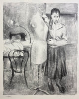 Raphael Soyer Seamstress I Portfolio Two Signed Limited Edition Art Lithographs