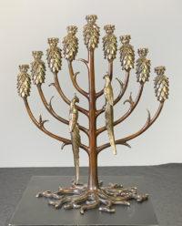 Erte  Tree of Life Menorah Candelabra 1990 Bronze Art Sculpture Signed