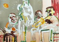 Romare Bearden 1979  Signed Original Art ~ Tenor Sermon ~ Jazz Series