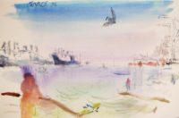 Sam Karres – Bay of Oakland, CA 1996 – Original Watercolor Painting on Paper