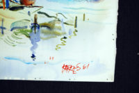 Sam Karres – Boats 1981 – Original Watercolor Painting on Paper