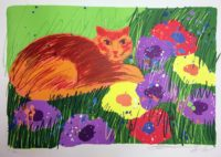 Walasse Ting Cat in the Garden 1981 Signed Lithograph