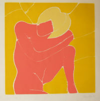 Philip Sutton Pink Nude 1967 Signed Woodblock Print