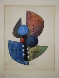 Sorel Etrog – Study for Painted Constructions 1958 – Original Watercolor (II)