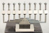 Yaacov Agam  Candelabragam  Menorah Sculpture Stainless Steel