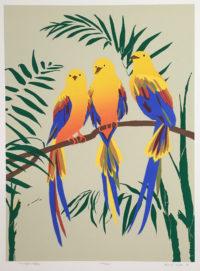 Anne E. Nipper Three Tropical Robins 1980 Signed Serigraph