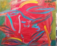 Peter Max, Red Face, Original Acrylic Painting