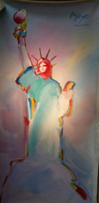Peter Max, Statue of Liberty , original Acrylic Painting – 36″ x 72″