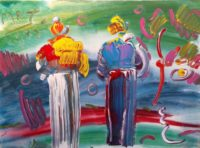 Peter Max, Two Monks, Original Acrylic Painting