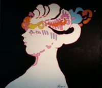 Peter Max, White Face, Original Acrylic Painting 1971