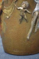 Angelo Basso Signed Bronze Art Nouveau Seraphim Vase