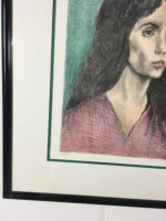 Raphael Soyer Woman Black Hair Framed Pencil Signed Lithograph