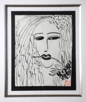 Walasse Ting 2001 Woman with Flower Framed Painting Acrylic on Rice paper