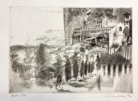 Andrew Rush Signed Art Etching Italian Landscape Umbria 1967