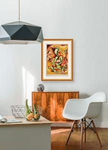 nechita lithograph framed on wall