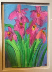 Walasse Ting  Iris Flowers Framed Painting Acrylic on Rice paper