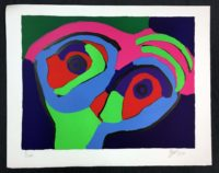 Karel Appel 1970 Green Face Signed Limited Edition Lithograph