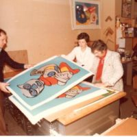 karel signs lithograph in 1978