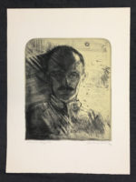 Andrew Rush Signed Art Etching Self Portrait Mirror Image