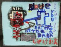Jim Stella Mixed Media Framed Painting 2014  Blue Lipstick