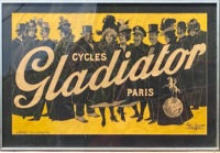 Paolo Henri Cycles Gladiator c.1900 Large Framed Antique Lithograph