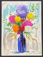 Peter Baum 1980 Signed Limited Edition Silkscreen Vase of Aster Flowers