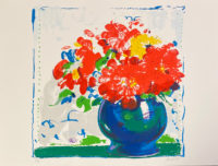 Peter Baum 1980 Signed Limited Edition Silkscreen of Flowers