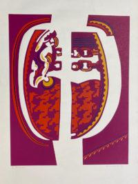 Ronald King Red Complex 1970 Silkscreen Signed Limited Edition Modern Art