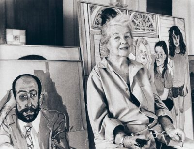 Alice Neel in front of her paintings