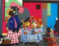 Romare Bearden Signed Lithograph Mourning